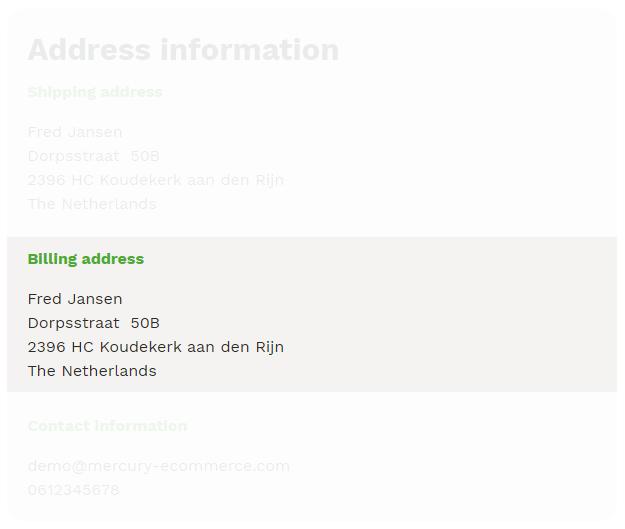 Billing address summary